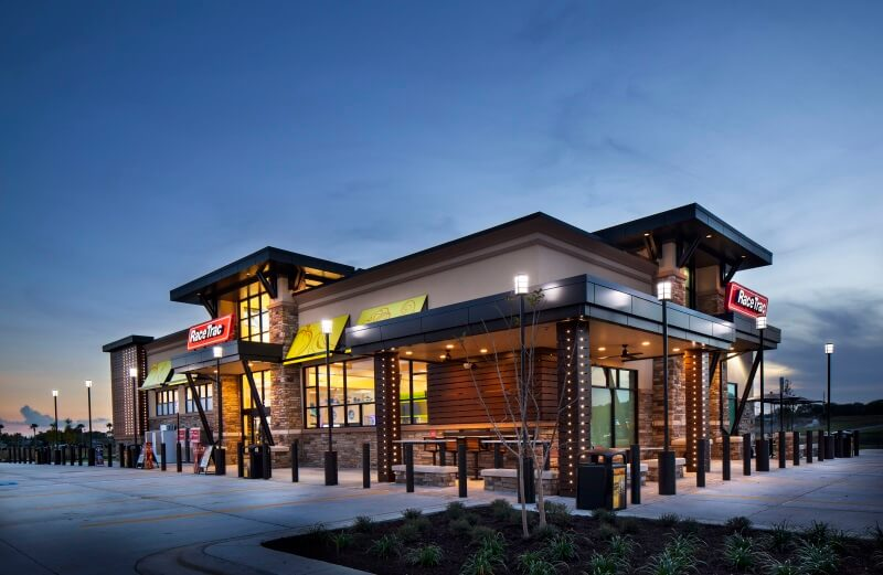 Exterior RaceTrac 5,500-square-foot store, nightview