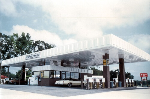 Outside view of first self-service gas station from 1970