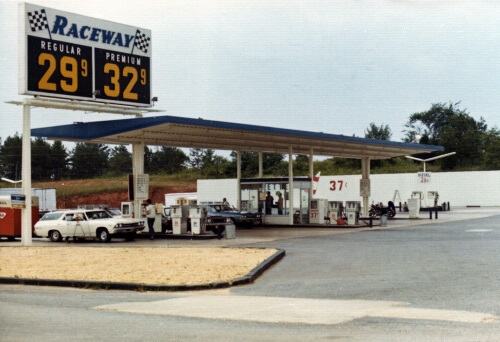 Outside view of Raceway gas pumps from 1979