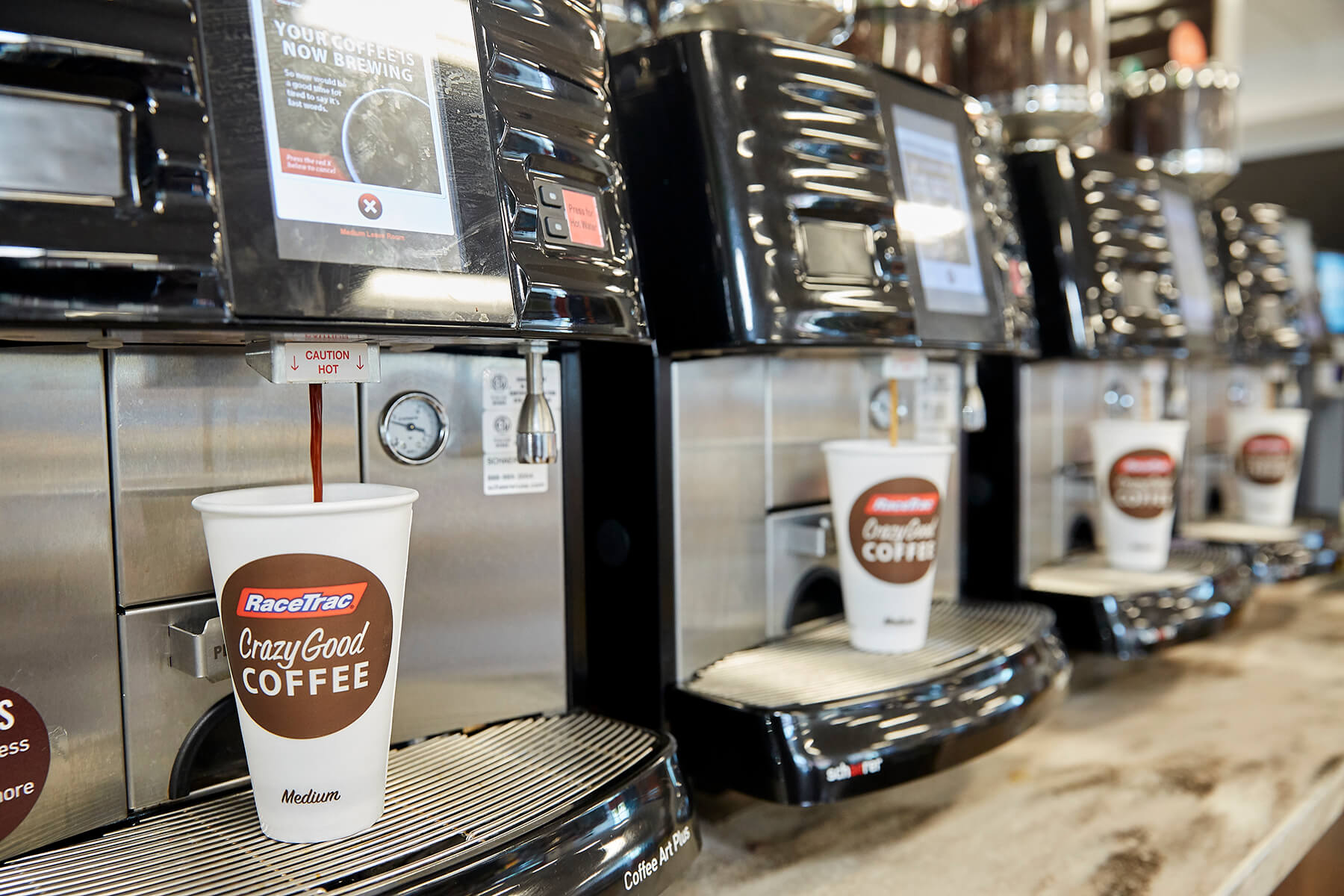 RaceTrac 5,500-square-foot store, interior Crazy Good Coffee bar